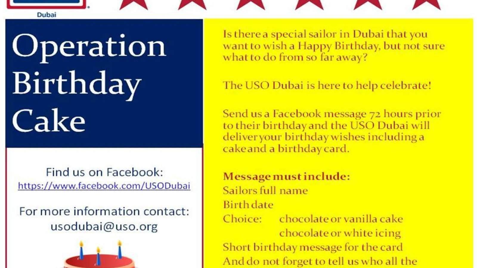 Operation Birthday Cake O USO Dubai And Abu Dhabi